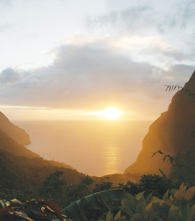 saint lucia, travel and sunset