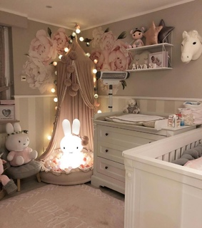 baby bedroom, baby and girly