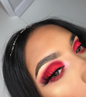 eyeshadow, eyebrows and red