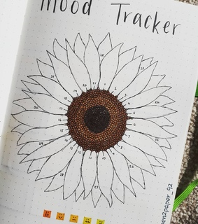 sunflower, bullet journal and moodtracker