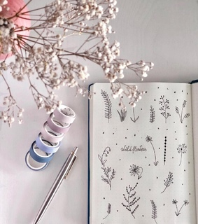 bullet journal, art and wildflowers