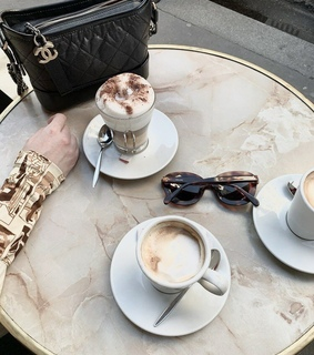 but first coffee, cappucino and sunglasses