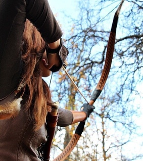 leather, weapon and bow