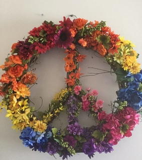 hippie peace sign, diy and flowers