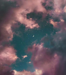 clouds, pink clouds and moon