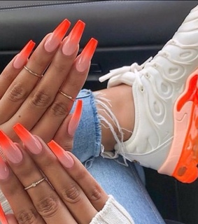 shoe vibes, neon orange and nails