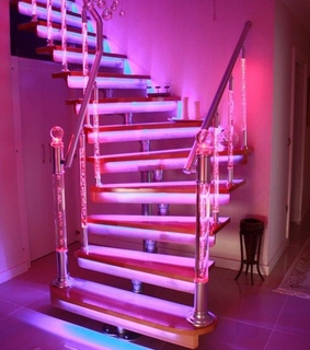 pink stairs, pink led lights and clear stairs