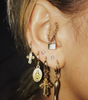 accessories, cross and piercings