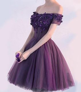 purple flowers, lavender dress and prom