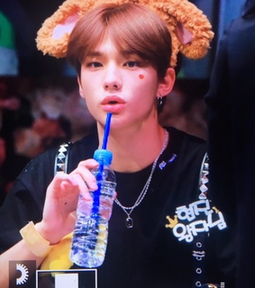 hwang hyunjin, drinking and big lips