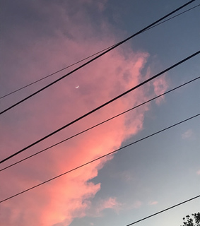 pink clouds, half moona and dawn