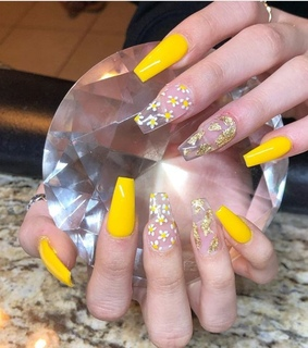 yellow, yellow nails and threads