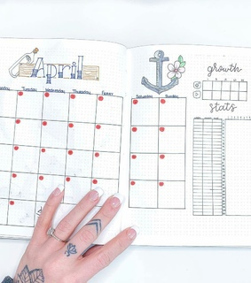 bullet journal, monthly view and tattoo