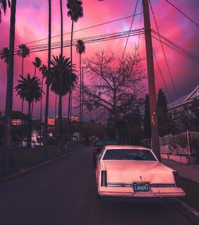 pink sunset, pink and car