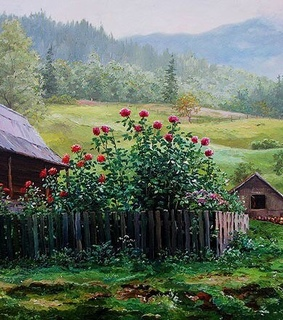 painting, countryside and flowers