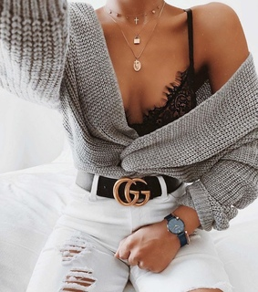 chic, cardigan and ripped jeans
