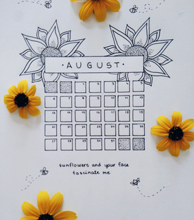bullet journal, notebook and august