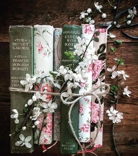 flowers, book and books