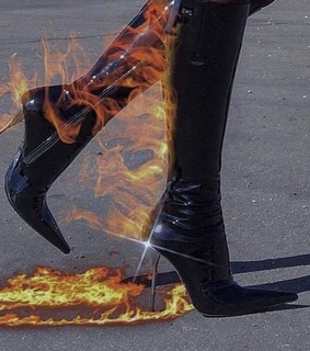 fire, black boots and hot