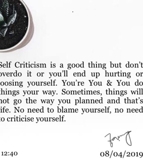 yourself, self criticism and i write