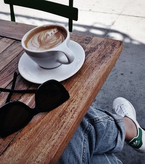 coffee art, cafe and sunglasses