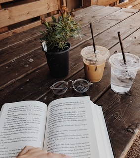 ice coffee, reading and coffee cup