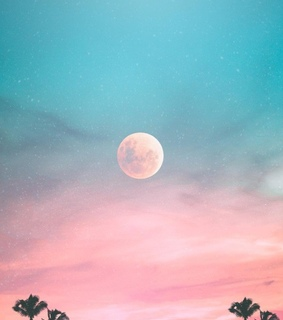 moon, pastel and sunset