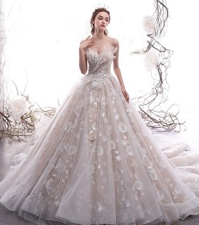 wedding dress 2019, tulle wedding gown and bride