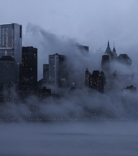 city, grey skies and clouds