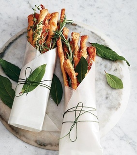 food, thyme and bread sticks