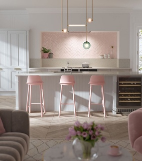 pink living room, kitchen and pink interior
