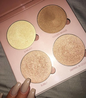 makeup, highlighters and palette