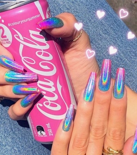 pink nails, coca cola and rainbow nails