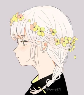 ribbon, white hair and yellow flowers