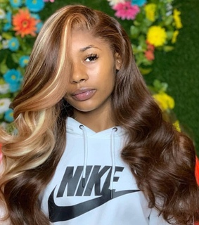 brown, cinnamon and lace wig
