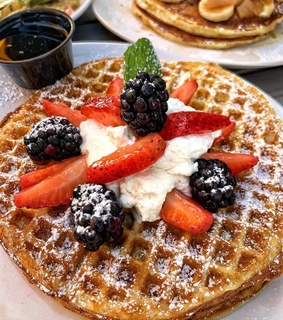 food, sweets and waffles