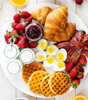 strawberries, food and croissants
