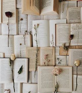 wallpaper, flower and book