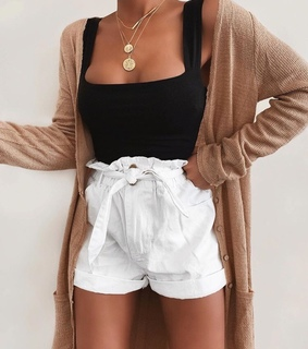 white shorts, brown cardigan and goals