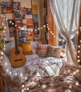 bed, bedroom and city