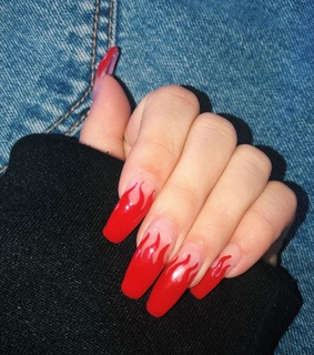 flame nails, manicure and kylie jenner nails