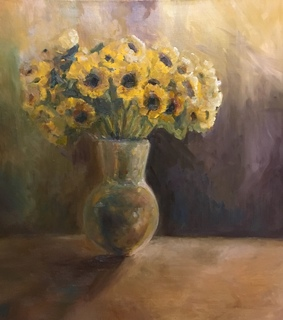 artist, oil painting and sunflower