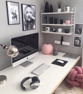 apple, girly and study desk