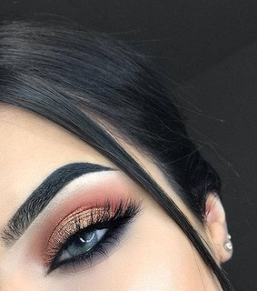 pink, brows and eyeliner