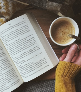 coffee cup, books and coffee