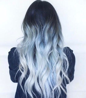 curly hair, curles and blue hair