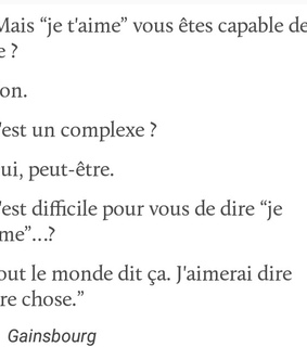 Gainsbourg, je t'aime and citation