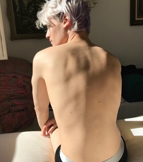 white hair, silver and muscles