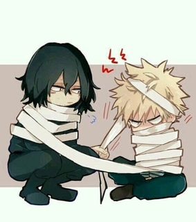 boku no hero academia, aizawa and bakugou