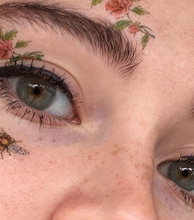 bee, eyes and flowers